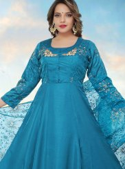 Blue Fancy Fabric Readymade Anarkali Suit