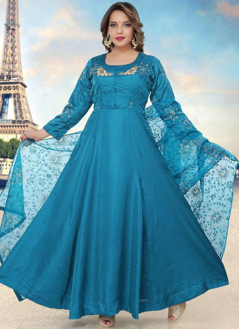 Blue Fancy Fabric Readymade Anarkali Suit