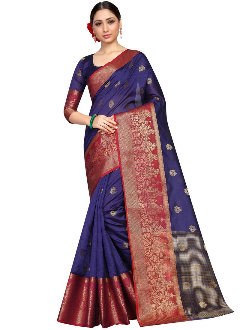Blue Fancy Fabric Traditional Saree