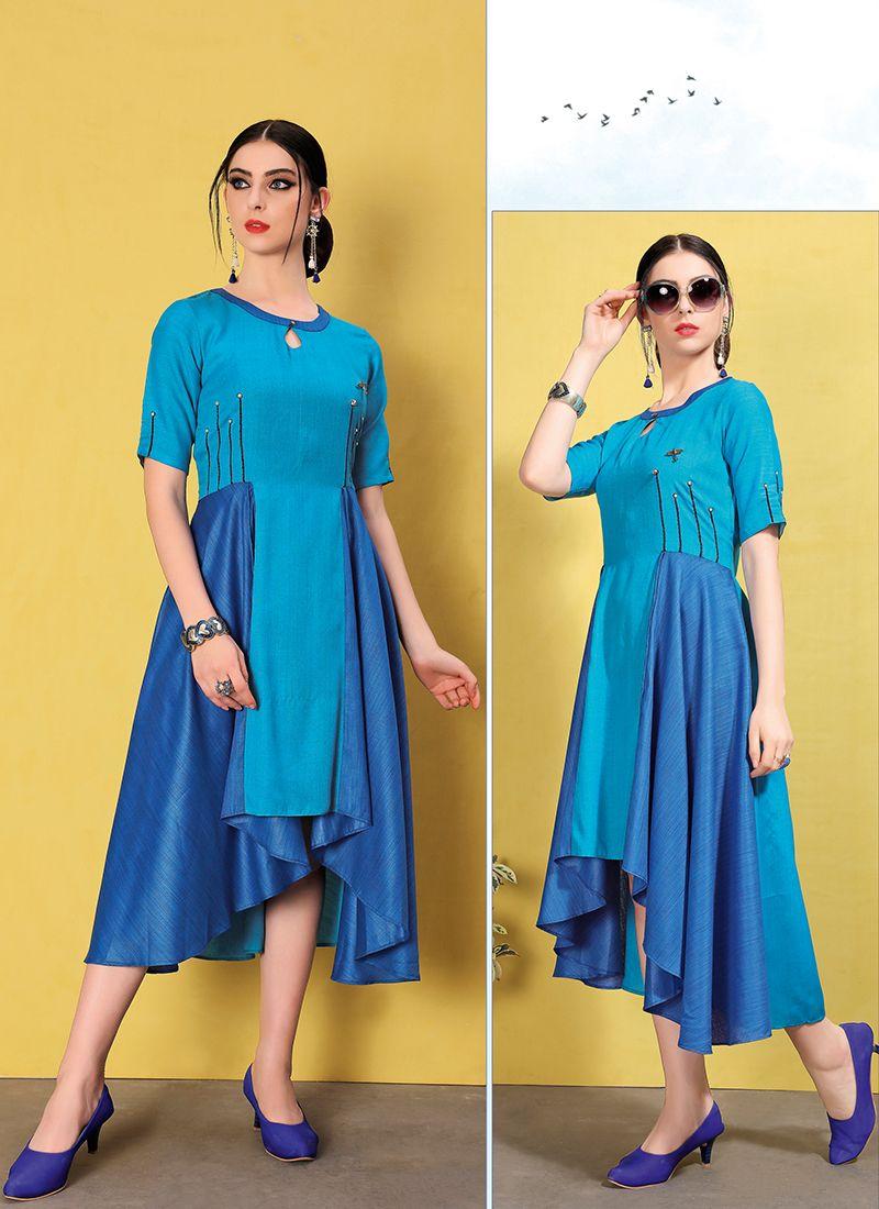 Blue Fancy Fancy Fabric Party Wear Kurti