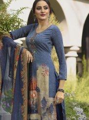 Blue Faux Crepe Casual Designer Salwar Kameez
