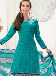 Blue Faux Crepe Casual Punjabi Suit