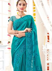 Blue Faux Georgette Ceremonial Classic Designer Saree