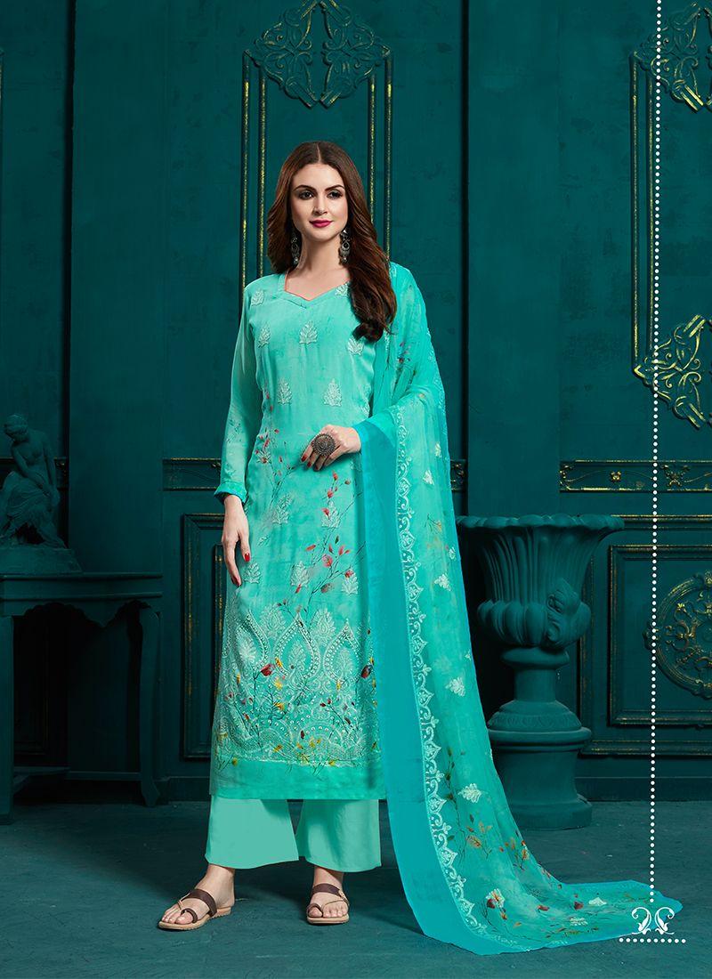 Blue Faux Georgette Ceremonial Designer Palazzo Suit