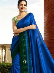 Blue Faux Georgette Ceremonial Saree