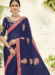 Blue Faux Georgette Classic Saree