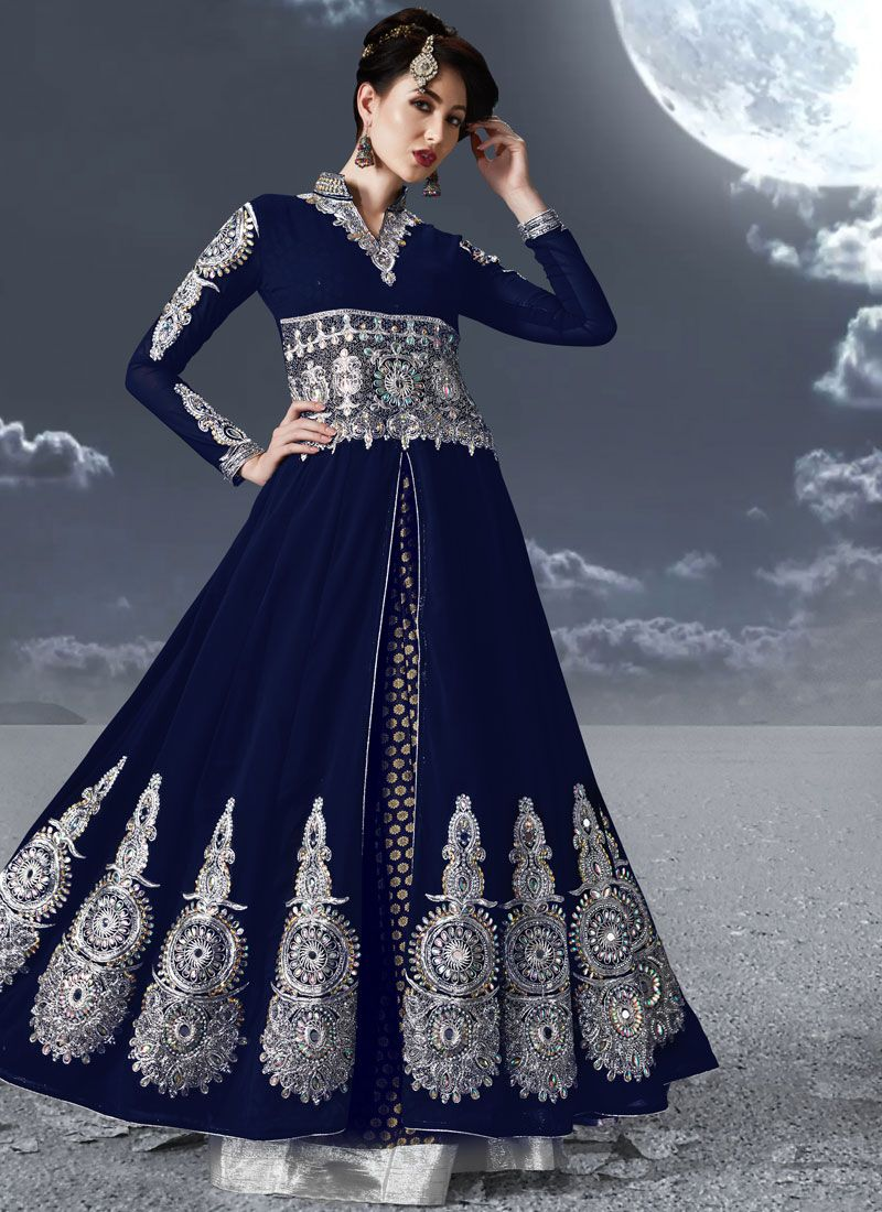 Blue Faux Georgette Embroidered Floor Length Anarkali Suit