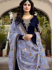 Blue Faux Georgette Festival Churidar Designer Suit