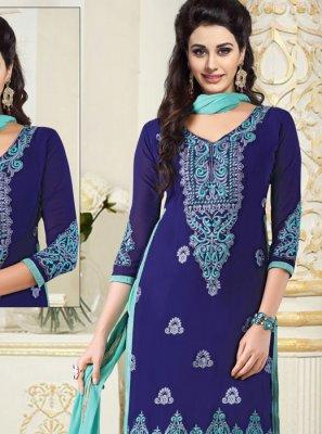 Blue Faux Georgette Mehndi Churidar Salwar Kameez