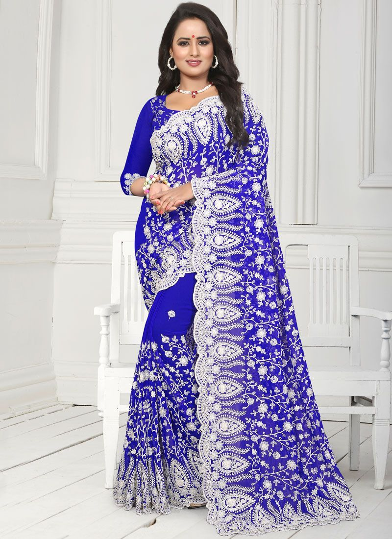 Blue Faux Georgette Party Traditional Saree