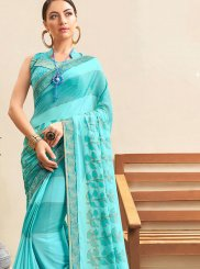 Blue Faux Georgette Printed Saree