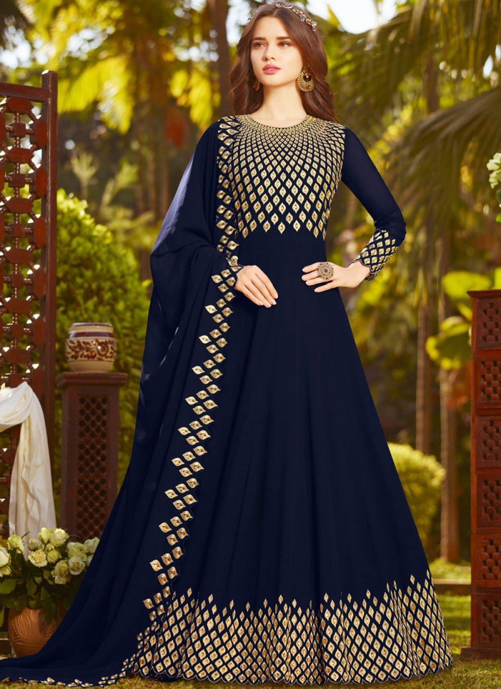 Blue Faux Georgette Resham Floor Length Anarkali Suit