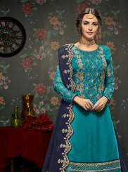 Blue Faux Georgette Resham Long Choli Lehenga