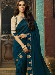 Blue Faux Georgette Saree