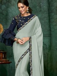 Blue Faux Georgette Wedding Designer Traditional Saree