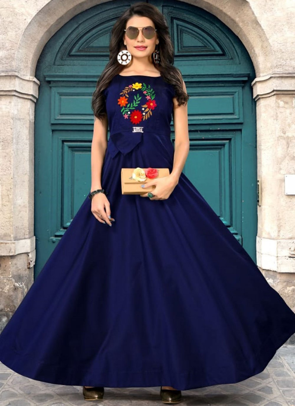 Blue Festival Art Silk Readymade Gown