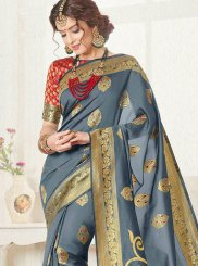 Blue Festival Art Silk Traditional Designer Saree
