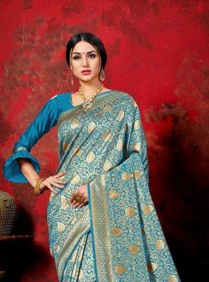 Blue Festival Banarasi Silk Traditional Saree