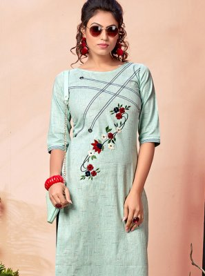 Blue Festival Cotton Party Wear Kurti
