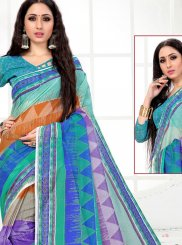 Blue Festival Cotton Printed Saree