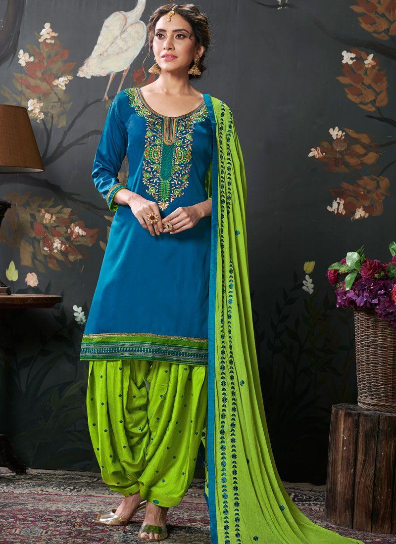 Blue Festival Designer Patiala Suit