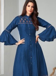 Blue Festival Fancy Fabric Party Wear Kurti