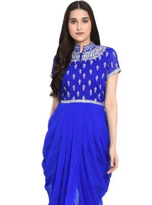 Blue Festival Georgette Readymade Salwar Kameez