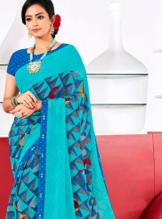 Blue Festival Georgette Trendy Saree