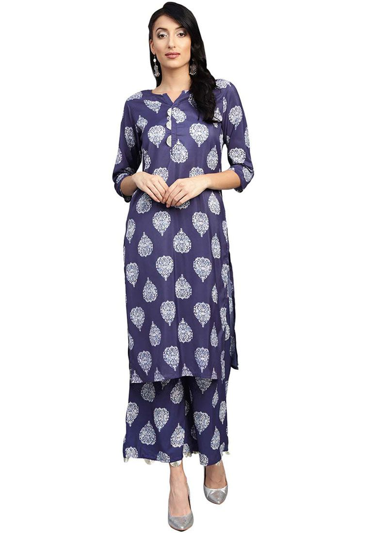 Blue Festival Muslin Party Wear Kurti