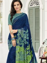 Blue Festival Printed Saree