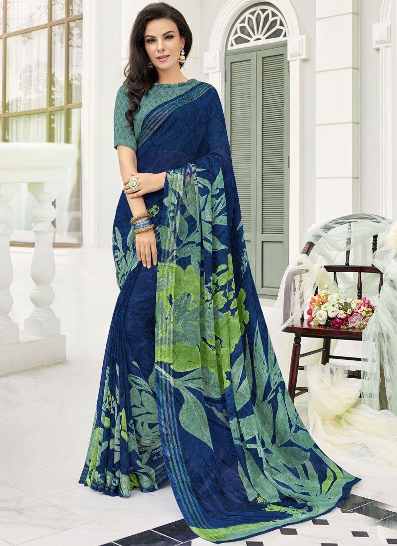 Blue Festival Printed Saree