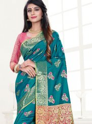 Teal Festival Traditional Designer Saree