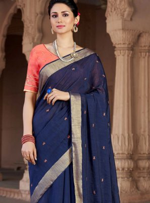 Blue Festival Viscose Classic Designer Saree