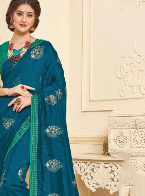 Blue Foil print Art Silk Trendy Saree