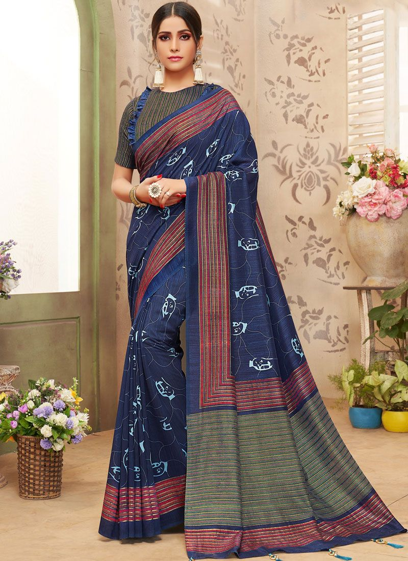 Blue Foil print Casual Saree