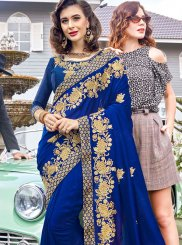 Blue Georgette Ceremonial Classic Saree