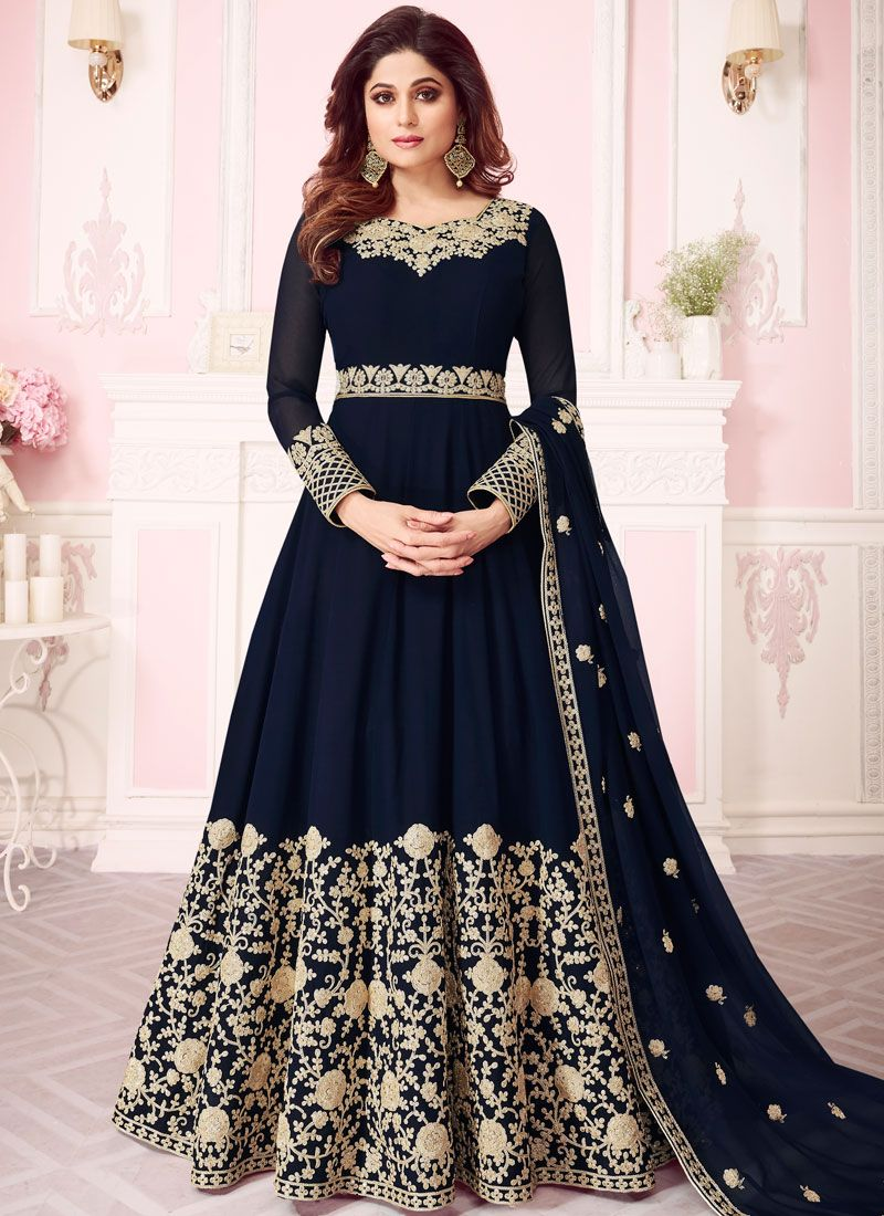 Blue Georgette Embroidered Anarkali Salwar Kameez