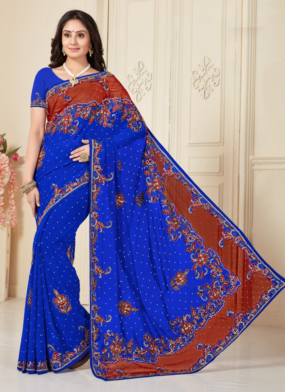 Blue Georgette Embroidered Traditional Saree