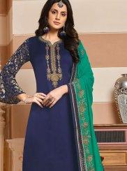 Blue Georgette Satin Designer Salwar Kameez