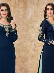 Blue Georgette Satin Festival Designer Suit
