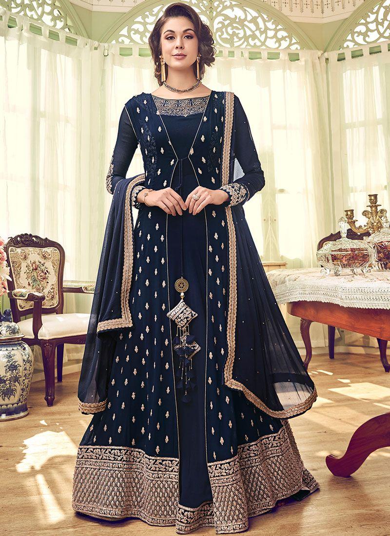 Blue Georgette Wedding Designer Salwar Suit