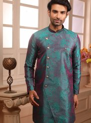 Blue Jacquard Embroidered Indo Western