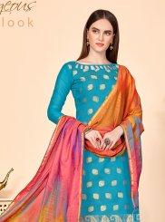 Blue Jacquard Silk Churidar Salwar Kameez