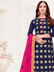 Blue Jacquard Silk Churidar Suit