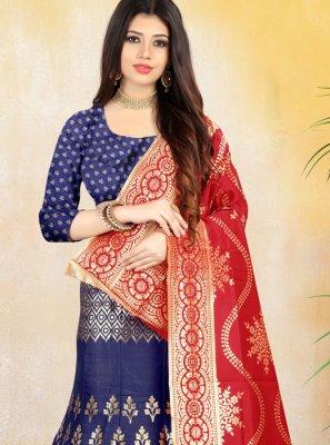 Blue Jacquard Silk Lehenga Choli