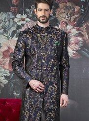 Blue Jacquard Silk Printed Indo Western