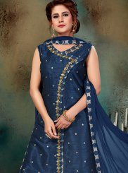 Blue Jacquard Silk Readymade Suit