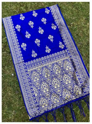 Blue Jacquard Silk Stole