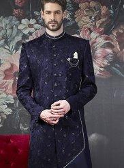 Blue Jacquard Silk Wedding Indo Western