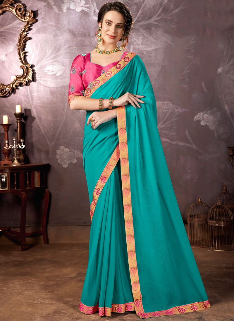 Blue Lace Faux Chiffon Saree